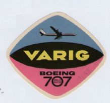 Collectible Airline luggage label Brazil Varig Boeing 707 #698